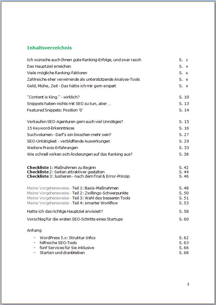 SEO-eBook: Inhaltsverzeichnis